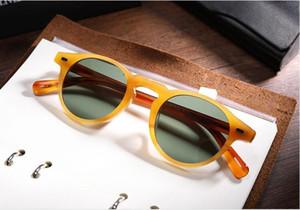 Gafas de sol polarizadas de vidrio OV5186 de Gregory peck Diseño retro redondo vintage45-23-150UV400goggles Estuche de juego completo Salida OEM Envío gratuito