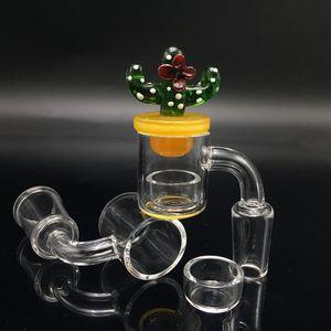 25mm XL Flat Top cuarzo Banger Carb Cap Phat Bottom Thermal Skillet Nail con inserto Drop Honey Bucket Bowl Dab Rig Tubos de agua