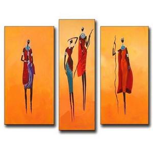Ручная роспись абстракция Африка рисунок маслом на холсте картины ручной работы современные стены искусства 3 панельные фотографии Home Decor