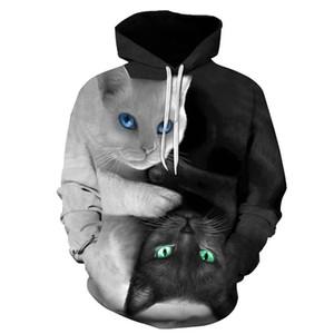 ONSEME Gato bonito YinYang 3D Hoodies Galaxy Cats Prints moletom com capuz Refrigere Lobo // Tiger Hoodie Pullovers Drop Ship