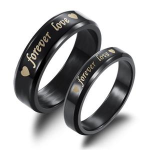 Para sempre amor preto titanium aço casal anéis atacado barato anel sólido para homens mulheres dia dos namorados presente