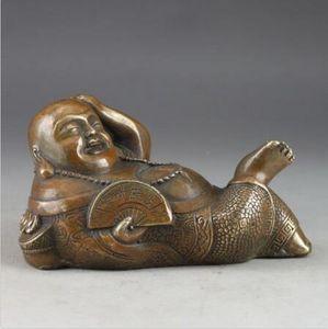 Brass Smile Buddha Exorcism Chinese Old Handwork Hammered Statue Decor