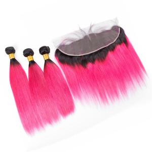 Dark Roots 1B Pink Ombre indisches Haar spinnt mit Spitze Frontal Schließung und Bundles Dark Roots Pink Ombre glattes Haar mit Frontal