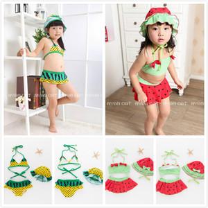 2018 Summer Girls Bikinis Watermelon 스타일 검은 도트 프린트 2 피스 홀터넥 넥 수영복 모자 2 디자인 Girl 's Spa Swimwear