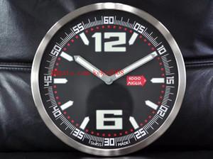 Mode top horloge murale CLASSIC RACING 168997-3001 cadran noir décoration de la maison en acier inoxydable luminescent VK Quartz horloge murale électronique