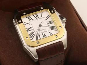 2019 Nuevos Hombres de Marca dos tonos 100 XL Reloj Automático Reloj Mecánico Marrón Estuche Dorado Cuero de los hombres Deportes broche de pulsera Relojes de pulsera
