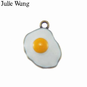Julie Wang 6PCS Alloy White Enamel Fried Eggs Omelette Charms For Neckalce Pendant Findings Jewelry Making Accessories 46*16mm