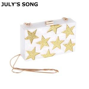 JULY'S SONG Stars White Acrylic Box Pochette da sera Catena Tracolla Borsa Crossbody Hardcase Bag Wedding Party Prom Purse D18110106