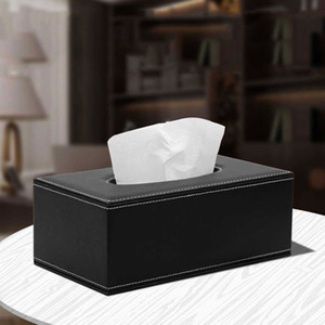PU Leather Tissue Box Car Tissue Napkin Paper Box Rectangular Tissue Box for Home Office Automotive Decoration