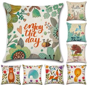 Cartoon Jungle Animals Cushion Cover Linen Fox Lion Bear Bee Pattern Decorative Pillow Case Throw Pillow Cover