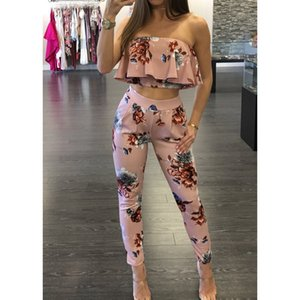 Sexy Floral Print Jumpsuits Two Piece Backless Club Rompers Womens Jumpsuit Strapless Full Bodysuit Summer Overalls