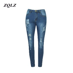 ZQLZ Jeans de Cintura Alta Mujer 2018 Nueva Moda Ripped Stretch Skinny Ture Lápiz Pantalones Mujeres S-3XL Zipper Denim Pantalones