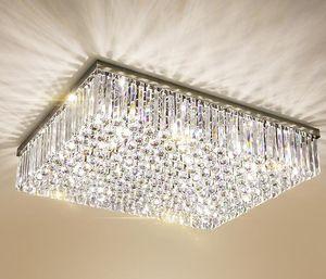Contemporanea Piazza lampadario di cristallo K9 cristallo incasso luci a soffitto di lusso del supporto LED Crystal Light Lustri De Cristal per soggiorno