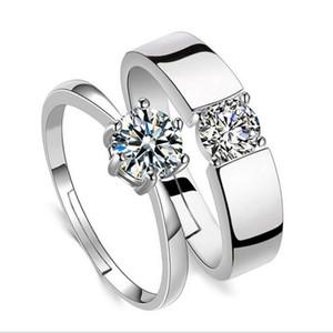 Korea Stil Silber Überzogene Kristall Liebhaber Ringe Zirkon Paar Ring Öffnung Einstellbare Hand Diamant Schmuck Valentinstag Geschenk für Männer Frauen