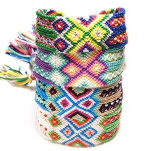 Bohemian trançada pulseira estilo étnico Handmade arco-íris pulseira sorte Transit Amizade Alça de Mão Bangle Suporte FBA transporte da gota H674F