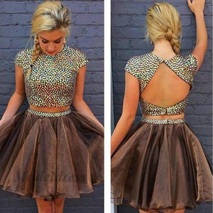 Sparkly Two Pieces Homecoming Dresses Short Brown Colorido rebordear Open Back Tulle A Line Vestidos de fiesta de manga corta para graduación