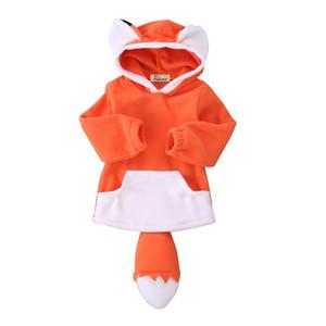 Outono pudcoco crianças do bebê menina menino Polar Fleece fox Animal Bonito Dos Desenhos Animados Hoodies Com Capuz Casaco Com Capuz Jaqueta bebe crianças casacos