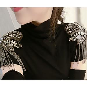 2018 yeni gelmesi Kpop moda kadın giyim apolet aksesuarları püskül omuz apoletlerini / charreteras hombro / broş toptan ücretsiz kargo