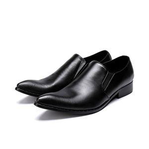 Einfaches Entwurfs-Mann-Schwarz-Kleid-Schuh-Spitz Beleg-auf Geschäfts-Freizeit-Leder-Schuh-Mann-Büro-Karriere-Schuh-Größe 39-46 Hombre Zapatos