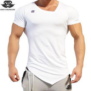 Vücut Mühendisleri 2017 Moda Erkekler Yaz Hızlı Kuruyan V-Boyun Kısa Kollu Erkek Spor Salonları Streç Vücut Geliştirme Giyim Spor Rahat T-Shirt