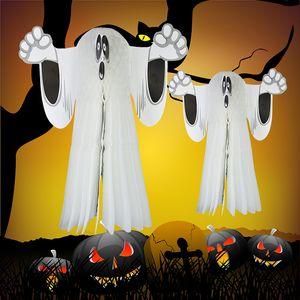Cadılar bayramı Kağıt Asılı Hayalet Shroud Kapı Askı Katlanabilir Eğlenceli Beyaz Cadılar Bayramı Partisi Sahne Dekorasyon Cadılar Bayramı Malzemeleri