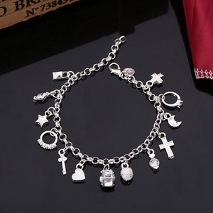 New 925 silver Plated bracelet, 925 silver fashion Charm Bracelet jewelry With 13 Mix Style Pendant
