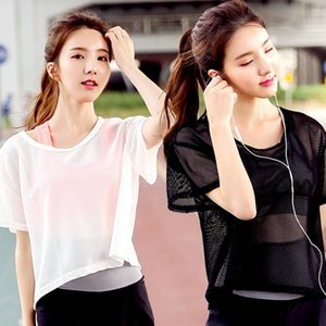 2017 Sexy Soft Mesh Yoga Tops Sport Jersey shirt Fitness tees Sportswear Running Woman Athletic t-shirts Gym Clothing For Women