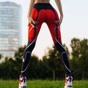 Atacado Sexy Coração Imprimir Leggings Mulheres Vermelho Preto Patchwork Calças Esportivas Moda Impresso das Mulheres Casual Aptidão Leggings