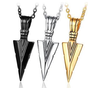 티타늄 강철 화살 창 Neckalce - Hiphop Rock 쿨 펜던트 목걸이 Mens Jewelry Gift (3 Colors)