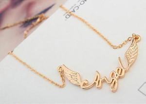 Halskette für Frauen arbeiten Qualitäts-18K Gold überzogener Legierung Angel Wings Schlüsselbein Kette Halskette Schmuck