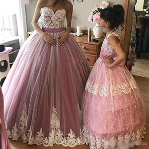Lovely Pink Ball Gowns White Appliques Flowers Quinceanera Dresses 2018 Sweetheart Sleeveless Puffy Long Prom Dress Sweet 15 Pageant Party