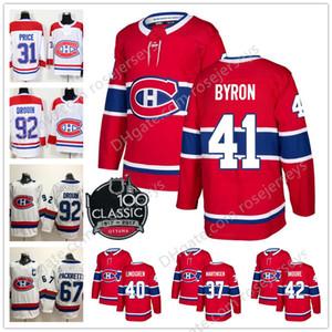2019 Montreal Canadiens # 37 Antti Niemi 41 폴 바이런 43 Weal 54 Charles Hudon 8 Jordie Benn 레드 화이트 100 번째 Classic Hockey Jerseys