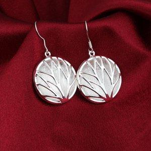 Toptan 925 Ayar Gümüş Kaplama Yuvarlak Hollow Bırak Küpe Kadın Kız Moda Parti Mücevherat Ücretsiz Kargo