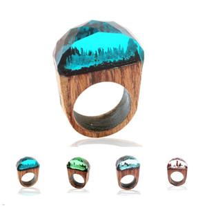 Anel de Resina De madeira anel de dedo de madeira Segredo Floresta anel anéis de Banda de Cristal Moda Jóias para Mulheres Dos Homens presentes dos homens por atacado