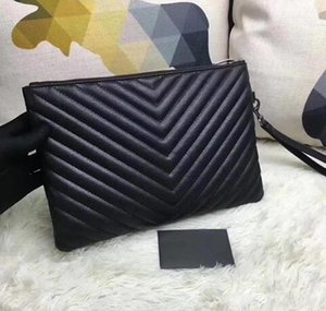 Newset Femmes V Motif en vagues Carte Sacs d'embrayage de bourse soir cuir véritable noir sacs à main de fil de broderie griffes Party