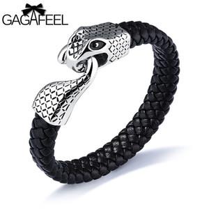 GAGAFEEL Serpent Head Bracelet argent hommes bijoux Punk Personnalité Homme En Acier Inoxydable Bracelet En Cuir Charm Tide Main Bijoux