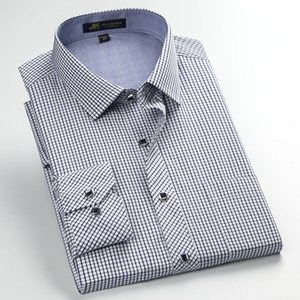 Men's Long Sleeve Regular-fit Contrast Small Plaid Dress Shirt with Left Chest Pocket Formal Business Work Office Casual Shirts