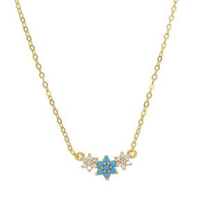 Beyaz cz mavi turkuaz taş elegance üç çiçek kolye lovelly 925 ayar gümüş takı minimal zarif gümüş yeni takı