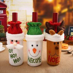 Copri bottiglia di vino rosso coperchio del vino Decorazioni natalizie Tappo di bottiglia Santa Clause Festa di Natale Decorazione di Capodanno