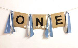 Nuevo Blanco Oscuro Azul marino Borlas ONE Banner Boy Trona Bunting Primer cumpleaños Fiesta Decoración Baby Shower Cake Smash Garland