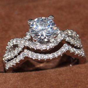10KT oro blanco Tamaño 5-10 nueva llegada joyería hecha a mano de lujo Llenado del corte redondo Oficina enternity Topaz mujeres de bodas de diamante del sistema del anillo nupcial