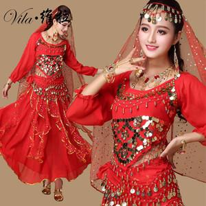 9pcs 벨리 댄스 의상 볼리우드 의상 인도 드레스 벨리 댄스 의상 Belly Dancing Costume Set 6 색