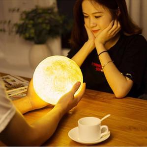 Lampada lunare con stampa 3D con interruttore tattile Telecomando luci lunari a luci notturne modificabili come regalo di Natale