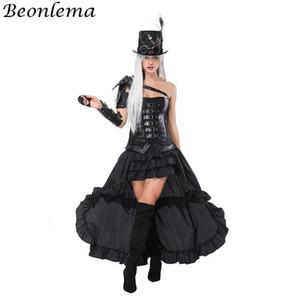 Beonlema Overbust Bustier Leather Steampunk Corsetto Black Arm Shaper Punk Rave Belt Rivetto Korse Dress Cosplay Abbigliamento Gonna lunga