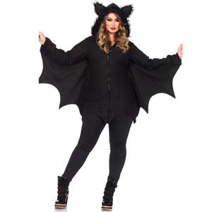 Batwoman Batman Costume Pipistrello Animale Cosplay Faux Fur Ear Cloak Pagliaccetto con Zipper Halloween Vampire demon Masquerade Party