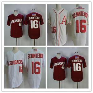 Мужская Бейсбол Арканзас Колледж 16 Эндрю Бенинтеди Джерси Кремовый Красный Белый Серый Ncaa Бейсбол Сшитые Бостон Темно-синие рубашки S-3XL