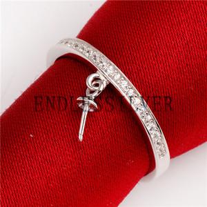 Wedding Band CZ Micro Pave Zircons Configuración 925 Plata de ley Dangle Pearl Semi Ring Peg Mounts