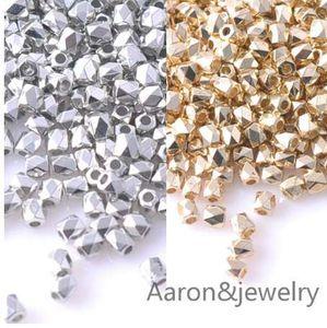 4x3.5mm 500 pcs Ouro e Prata CCB Quadrado cuboid Sementes Spacer Beads Para fazer Jóias DIY YKL0347X