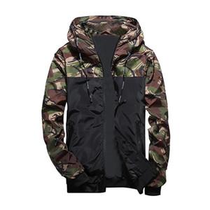 Faroonee Printemps Automne Hommes Casual Camouflage Hoodie Veste Hommes Imperméable Vêtements Hommes Coupe-Vent Manteau Mince Outwear 4XL