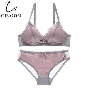 CINOON NEW Sexy Intimates Set reggiseno senza filo femminile Biancheria intima Pizzo Lingerie Push Up bralette Confortevole set di reggiseno e slip